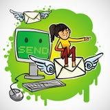 A mulher senta-se no email Ilustração Stock