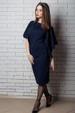 Mulher 'sexy' bonita elegante no vestido de noite com uma composição brilhante da noite com os bordos completos com batom vermelh Fotos de Stock