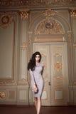 A mulher 'sexy' bonita na coleção elegante do outono do vestido elegante da composição moreno longa do cabelo da mola bronzeou-se Imagem de Stock