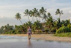 Mulher 'sexy' bonita no terno de natação que anda na praia na baía de Weligama imagem de stock