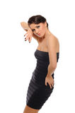 Mulher 'sexy' bonita no vestido elegante curto imagens de stock royalty free