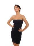 Mulher 'sexy' bonita no vestido elegante curto imagem de stock