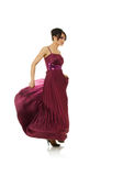 Mulher 'sexy' com o vestido elegante do vôo fotos de stock