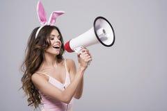 Mulher 'sexy' com orelhas de coelho Imagens de Stock