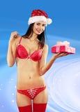Mulher 'sexy' com presente Imagem de Stock Royalty Free