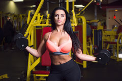Mulher 'sexy' da aptidão que faz o exercício do esporte no gym com pesos Foto de Stock Royalty Free