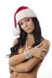 Mulher 'sexy' de Papai Noel fotografia de stock