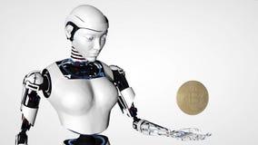 Mulher 'sexy' do androide do robô que guarda o bitcoin, ouro cripto Bitcoins da moeda - BTC - moeda do bocado Tecnologia do futur ilustração do vetor