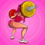 Mulher 'sexy' dos desenhos animados que squatting com um barbell Foto de Stock Royalty Free
