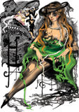 Mulher 'sexy' em um vestido verde quebrado Imagens de Stock Royalty Free