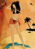 Mulher 'sexy' em uma praia Imagens de Stock