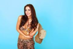 Mulher 'sexy' feliz no equipamento do verão Imagens de Stock Royalty Free