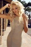 Mulher 'sexy' lindo com cabelo louro no vestido luxuoso Fotografia de Stock Royalty Free