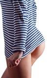 Mulher 'sexy' na camisa de um homem fotos de stock royalty free