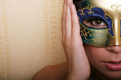 Mulher 'sexy' na máscara fotografia de stock