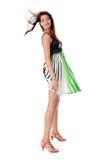 Mulher 'sexy' na saia fundida pelo vento Foto de Stock Royalty Free