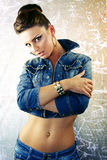 Mulher 'sexy' no revestimento da sarja de Nimes Foto de Stock Royalty Free