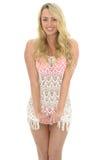 Mulher 'sexy' nova bonita que veste Lacy See Through Mini Dress fotografia de stock royalty free