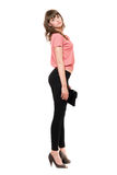 Mulher 'sexy' nova com uma bolsa preta fotografia de stock royalty free