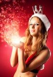 Mulher 'sexy' nova na roupa de Santa Fotos de Stock