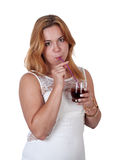 Mulher 'sexy' nova que bebe com uma palha Fotos de Stock