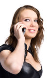 Mulher 'sexy' nova que fala no telefone móvel Fotos de Stock