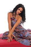 Mulher 'sexy' que levanta no Footstool Imagens de Stock