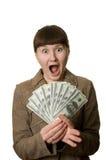 Mulher Shouting com dinheiro Fotografia de Stock