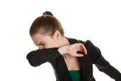 Mulher Sneezing Imagens de Stock