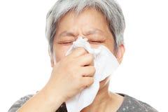 Mulher Sneezing Fotos de Stock Royalty Free