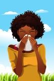 Mulher Sneezing Fotografia de Stock