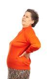 Mulher sênior com dor lombar Fotografia de Stock