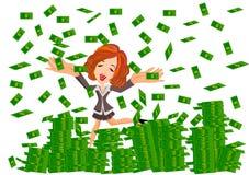 Mulher sob a chuva do dinheiro Fotografia de Stock Royalty Free