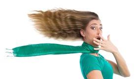 Mulher sob a pressão de tempo Fotografia de Stock