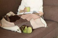 Mulher Sofa Cup Plaid imagem de stock royalty free