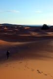 Mulher sozinha nas dunas Foto de Stock