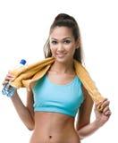 Mulher Sportive com a garrafa da água imagem de stock