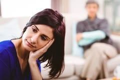 Mulher séria que olha afastado Foto de Stock Royalty Free