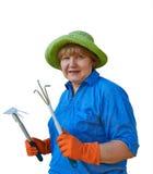 Mulher superior com ferramentas de jardim Fotografia de Stock Royalty Free