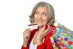 Mulher superior com sacos de compras Foto de Stock