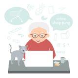 A mulher superior faz uma compra sobre o Internet em casa A avó faz a compra do Internet ilustração do vetor