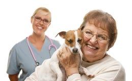 Mulher superior feliz com cão e veterinário Imagens de Stock
