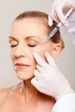Injeção superior do cosmético da mulher Fotografia de Stock