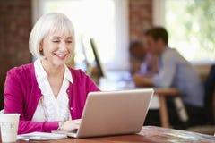 Mulher superior que trabalha no portátil no escritório contemporâneo imagem de stock