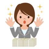 Mulher surpreendida às quantias chorudas ilustração stock