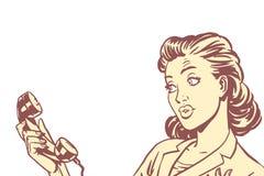 Mulher surpreendida com telefone, fundo isolado ilustração stock