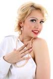 Mulher surpreendida do blondie. Imitação de Marilyn Monroe fotografia de stock royalty free