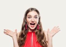 Mulher surpreendida glamoroso com boca aberta imagem de stock royalty free