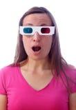 Mulher surpreendida nos vidros 3d Fotografia de Stock