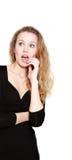 Mulher surpreendida nova sobre o branco imagens de stock royalty free